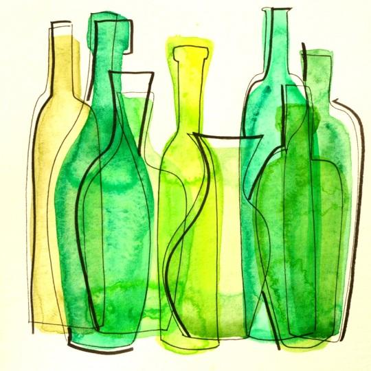 25 Illustration bouteilles aquarelle